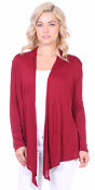 Super-Soft Open Front Drape Cardigan - Made In USA - Burgundy