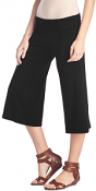 Women's Capri Culottes Gaucho Cropped Flattering High Waisted Pants - Made In USA - Black