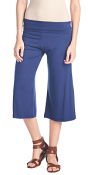 Women's Capri Culottes Gaucho Cropped Flattering High Waisted Pants - Made In USA - Navy