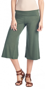 Women's Capri Culottes Gaucho Cropped Flattering High Waisted Pants - Made In USA - Olive
