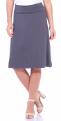 Short Maxi Skirt - Knee Length Fold Over High Waisted Midi Skirt - Made in USA - Slate
