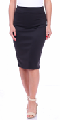 Women's High Waist Knee Length Stretch Pencil Skirt - Ladies Shaping Midi Skirt for Work or Office - Made In USA - Black