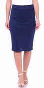 Women's High Waist Knee Length Stretch Pencil Skirt - Ladies Shaping Midi Skirt for Work or Office - Made In USA - Navy