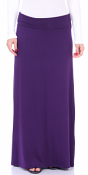 Comfortable Fold-Over Maxi Skirt - Made in USA - Eggplant