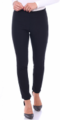 Pull On Pants For Women Ankle Length - Casual Mid Rise Stretch Office Work Pants - Black