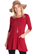 Women's 3/4 Sleeve Tunic With Pockets - Made in USA - Burgundy