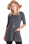 Women's 3/4 Sleeve Tunic With Pockets - Made in USA - Charcoal