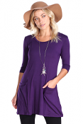 Women's 3/4 Sleeve Tunic With Pockets - Made in USA - Eggplant