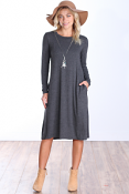 Womens Below the Knee Long Sleeve Swing Dress with Pockets - Made In USA ( Charcoal )
