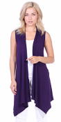 Women's Sleeveless Long Drape Cardigan Plus Size Available - Made In USA - Eggplant