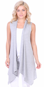 Women's Sleeveless Long Drape Cardigan Plus Size Available - Made In USA - HGray