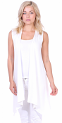 Women's Sleeveless Long Drape Cardigan Plus Size Available - Made In USA - Pearl