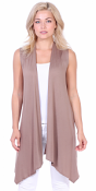 Women's Sleeveless Long Drape Cardigan Plus Size Available - Made In USA - Toffee