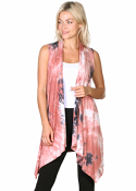 Women's Sleeveless Long Drape Cardigan Plus Size Available - Made In USA - DT37