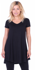 Women's Tunic Top Dress Short Sleeve - Wear With Leggings in Regular and Plus Size - Made In USA - Black
