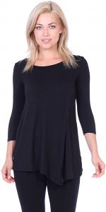Flattering Asymmetrical Hem 3/4 Sleeve Tunic Top - Made In USA - Black