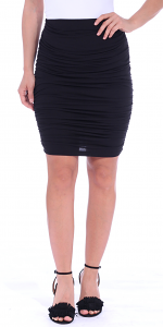 Womens Ruched Bodycon Pencil Skirt High Waist Above Knee - Made in USA - Black