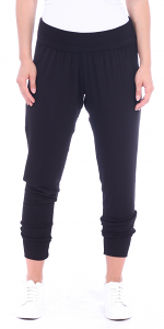 Women's Harem Pants Cropped Jogger Style Ankle Length Sweatpants - Made In USA - Black