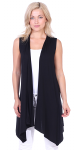 Women's Sleeveless Long Drape Cardigan Plus Size Available - Made In USA - Black