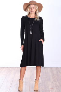 Womens Below the Knee Long Sleeve Swing Dress with Pockets - Made In USA ( Black )