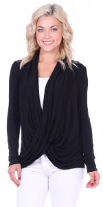 Long Sleeve Criss Cross Cardigan Also in Plus Size - Made In USA - Black