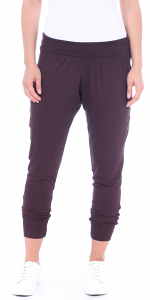 Women's Harem Pants Cropped Jogger Style Ankle Length Sweatpants - Made In USA - Brown