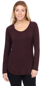 Womens Scoop Neck Tunic Tops Long Sleeve Wear with Leggings - Made In USA - Brown