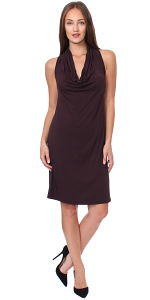 Cowel Neck Dress - Made in USA - Brown