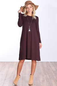 Womens Below the Knee Long Sleeve Swing Dress with Pockets - Made In USA ( Brown )