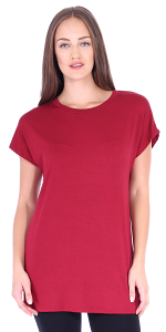 Womens Cap Sleeve Round Neck Tunic Top Wear with Leggings - Made in USA - Burgundy