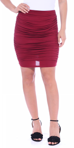 Womens Ruched Bodycon Pencil Skirt High Waist Above Knee - Made in USA - Burgundy