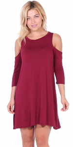 Womens Cold Shoulder Shift Flowy Dress Round Neck 3/4 Sleeve - Made In USA - Burgundy
