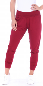 Women's Harem Pants Cropped Jogger Style Ankle Length Sweatpants - Made In USA - Burgundy