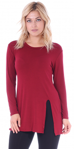 Long Sleeve Tunic Top with Slit - Made in USA - Burgundy