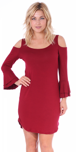 Women's Cold Shoulder Tunic Dress - 3/4 Ruffle Bell Sleeve Style - Made In USA - Burgundy