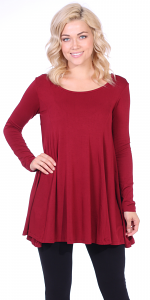 Womens Long Sleeve Tunic Top Loose Fit - Wear With Leggings - Made In USA - Burgundy