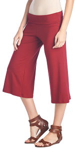 Women's Capri Culottes Gaucho Cropped Flattering High Waisted Pants - Made In USA - Burgundy