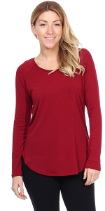 Womens Scoop Neck Tunic Tops Long Sleeve Wear with Leggings - Made In USA - Burgundy