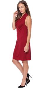 Cowel Neck Dress - Made in USA - Burgundy