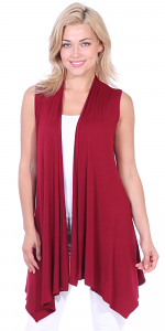 Women's Sleeveless Long Drape Cardigan Plus Size Available - Made In USA - Burgundy