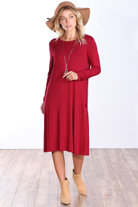Womens Below the Knee Long Sleeve Swing Dress with Pockets - Made In USA ( Burgundy )