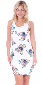 Floral Sleeveless Dress For Women - Short Above The Knee Summer Dress - Made In USA - C1