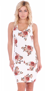 Floral Sleeveless Dress For Women - Short Above The Knee Summer Dress - Made In USA - C2