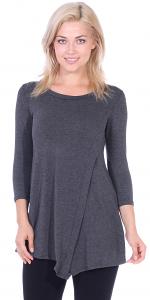 Flattering Asymmetrical Hem 3/4 Sleeve Tunic Top - Made In USA - Charcoal