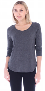 Womens Scoop Neck Tunic Tops Long Sleeve Wear with Leggings - Made In USA - Charcoal