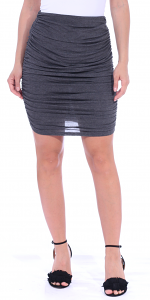 Womens Ruched Bodycon Pencil Skirt High Waist Above Knee - Made in USA - Charcoal