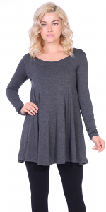 Womens Long Sleeve Tunic Top Loose Fit - Wear With Leggings - Made In USA - Charcoal