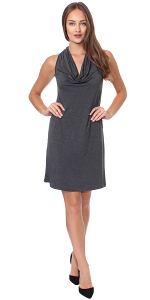 Cowel Neck Dress - Made in USA - Charcoal