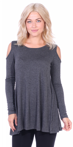Open Cut Out Cold Shoulder Tunic Top for Women - Long Sleeve Top for Leggings - Made In USA - Charcoal