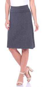 Short Maxi Skirt - Knee Length Fold Over High Waisted Midi Skirt - Made in USA - Charcoal